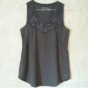 Eddie Bauer Gray Gypsum embroidered tank top small